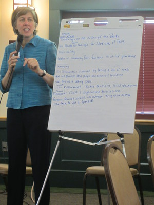 Christine Poff at Franklin Park Coalition meeting