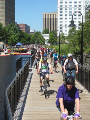 cyclists on the Broad Canal