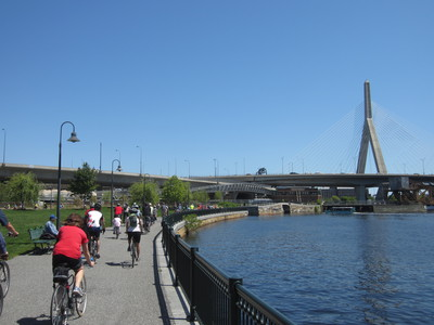 cyclists in Northpoint Park with bridges