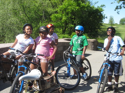 middle school cyclists enjoying Franklin Park