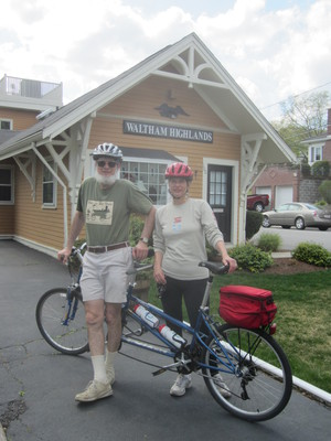 Dick and Roberta Bauer on the Mass. Central Trail